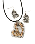 Heart Pendant Necklace and Earring Set in Two-Tone