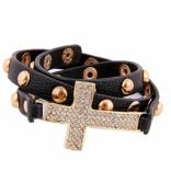 Rhinestone Cross Bracelet - Black / AZBRLB015-CBK