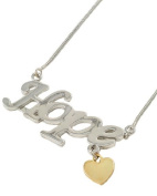 Hope Pendant and Heart Charm Necklace in Silver and Gold Tone
