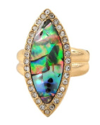 Green Abalone Shell and Clear Rhinestone Stretch Ring in Gold Tone