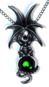Majestic Dragon Pendant with Green Crystal