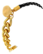 Charm Bracelet with Chain Metal & Black Woven Cord in Gold Tone