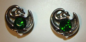 Protector Dragon Ear Rings with Green Crystals