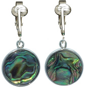 Tahitian-Style Paua Abalone Round Shell Clip On Earrings-Authentic Ocean Shells for Romantic Shimmer
