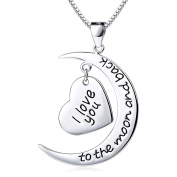 "ASTRO Sterling Silver ""I Love to the Moon and Back"" Heart Pendant Necklace 46cm"