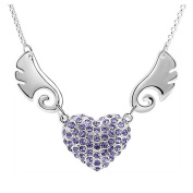 Sojewe Silver tone Angel Wing Heart Pendant Necklace Purple Elements Crystal Chain for Women