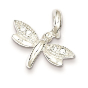 925 Sterling Silver Dragonfly CZ Charm Pendant 20mm x 19mm
