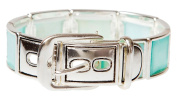Square Imitation Aqua Blue Shell Belt Stretch Silvertone Bracelet