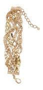Goldtone Multi-Row Layered Chain Over Chain Twisted Bracelet, 8+8.9cm Ext.