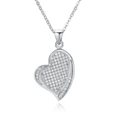 Simulated Diamond Heart Micro Pave Pendant Necklace Set
