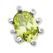 Sterling Silver Clear & Lt. Green CZ Ring