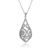 Riccova Micro-Pave Rhodium-Plated Cubic Zirconia Riccova Micro-Pave Exquisite Open Teardrop Pendant Necklace Accented With Cubic Zirconia Circles Detail/ Brass.