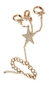 Triple Star Stretch Rings Rhinestone Goldtone Hand Chain Slave Ring Bracelet, 7.5+6.4cm Ext.
