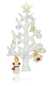 Akianna Element Crystals White Twig Christmas Tree Pin Brooch