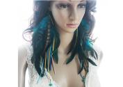 Long Feather Earrings for Women Tassel Turquoise Feather Earrings for Women