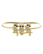 1 . Three Rhinestone Owls on Branch Hand Palm Bracelet, (Small) 7.3cm Diameter
