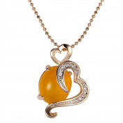 Romantic Time Heart Of The Agate Gold Tone Diamond Pendant Necklace