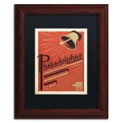 Trademark Fine Art Philadelphia, PA Black Matte Archival Paper Artwork by Anderson Design Group, 28cm by 36cm , Wood Frame