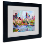 Trademark Fine Art Cityscape 2 Artwork by Richard Wallich, 28cm by 36cm , Black Frame