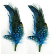 Touch of Nature 2-Piece Feather Pick with Nylon Loop for Arts and Crafts, 6 to 18cm , Teal/Turquoise