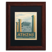 Trademark Fine Art Athens Greece Canvas Art by Anderson Design Group, 28cm by 36cm , Black Matte with Wood Frame