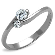 Stainless Steel Petite Clear CZ Promise Ring