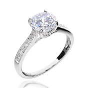Sterling Silver 2.25 Ct Round Cubic Zirconia Bridal Engagement Ring