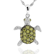 Sterling Silver Cubic Zirconia Turtle Pendant Necklace 46cm Chain