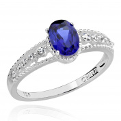 Sterling Silver 7X5mm Oval Created Blue Sapphire & Cubic Zirconia Ring