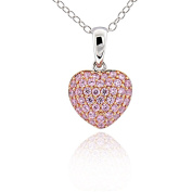 Sterling Silver Cubic Zirconia Heart Pendant Necklace 43cm Chain