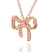 Sterling Silver Rose Gold Plated Cubic Zirconia Bowknot Pendant Necklace 43cm Chain