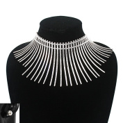 Women's Metal Bone Shape Wires Pieces Fringe Choker Necklace in Gold, Silver Tone