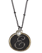 Monogram Rustic Antique Hammered Pendant 41cm Necklace & Imitation Pearl Charm by Jewellery Nexus