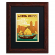 Trademark Fine Art Wood Frame Hong Kong Wall Decor by Anderson Design Group, 28cm by 36cm , Black Matte
