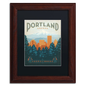 Trademark Fine Art Portland Canvas Art by Anderson Design Group, 28cm by 36cm , Black Matte with Wood Frame