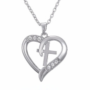 Devoted Love Hope Faith Clear Crystal Cross Heart Pendant Necklace