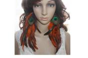 Long Feather Earrings for Women Orange & Purple Peacock Feather Earrings