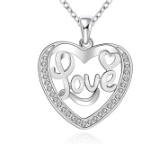 Modogirl Sliver Plated Jewellery Exqusite Heart Love d Pendant Necklace
