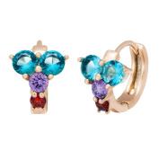 Romantic Time Fashion Shiny Diamond 18k Rose Gold Plated Rose Flower Hoop Earrings