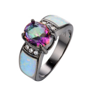 AYT 14KT Black Gold Filled Finger Ring Size 6/7/8/9 Mysterious Zircon Women Fashion Jewellery White Opal Stone Wedding Ring