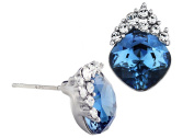 """Neoglory """"An Ocean in a Tear"""" Blue Stud Earrings Made with Element Crytal, S925 Silver Earring Posts"""