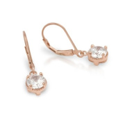 925 Sterling Silver Cubic Zirconia Rose Gold-Tone Plated Round Leverback Earrings 7.5MM