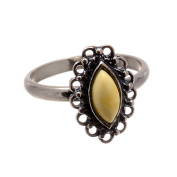 """Sterling Silver and Honey Baltic Amber Ring """"Joan"""" Size 6"""