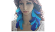 Long Feather Earrings for Women 2 Blue Natural Feather Earrings Blue