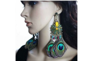 Peacock Feather Earrings for Women Natural Feather Jewellery Stud Beads
