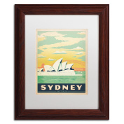 Trademark Fine Art Sydney Australia Canvas Art by Anderson Design Group, 28cm by 36cm , White Matte with Wood Frame