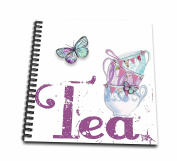3dRose db_211110_1 Vintage Stack of Tea Cups with the Word Tea Drawing Book, 20cm by 20cm