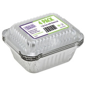 Nicole Home Collection 4 Count Aluminium Oblong Pan with Dome Lid, 0.5kg