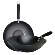 Ecolution Non-Stick Carbon Steel Wok with Soft Touch Riveted Handle, 30cm ,Black