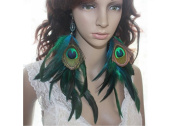 Long Earrings for Women Cheap Bead Peacock Natural Feather Earrings
